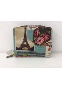 Queen And Cat Waterproof Small Wallet with Bucket (Paris Tower in Green)