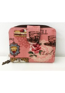 Queen And Cat Waterproof Small Wallet with Bucket (Tea Time in Pink)