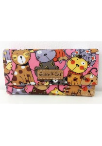 Queen And Cat Waterproof 3 Folds Wallet with Buckle (Colourful Cats)