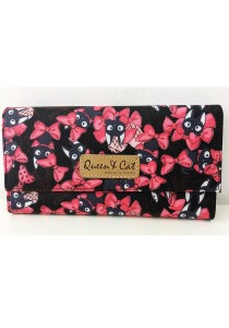 Queen And Cat Waterproof 3 Folds Wallet with Buckle (Pink Ribbons)
