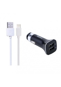 REMAX Lightspeed Lightning Cable (White) With 3.1A Dual USB Car Charger