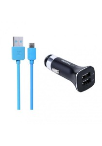 REMAX Lightspeed Micro USB Cable (Blue) With 3.1A Dual USB Car Charger