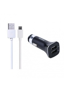 REMAX Lightspeed Micro USB Cable (White) With 3.1A Dual USB Car Charger