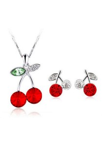 OUXI Happy Cherry Necklace Earrings Set