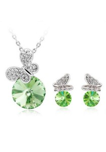 OUXI Butterfly's Love Necklace Earrings Set