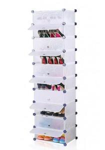 Tupper Cabinet 10 Tier 10 Cubes Stripes DIY Shoe Rack (White)