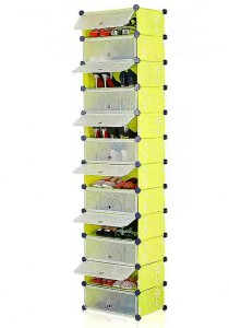 Tupper Cabinet 12 Tier 12 Cubes DIY Shoe Rack (Green Flower)