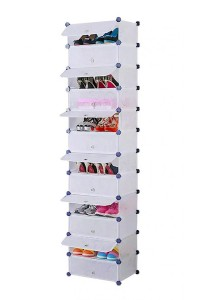 Tupper Cabinet 12 Tier 12  Cubes Stripes DIY Shoe Rack (White)