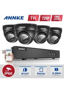 ANNKE 4CH 720P HD TVI CCTV Security Surveillance Camera System DVR Recorder with 4 Dome Cameras (C11BG) no HDD