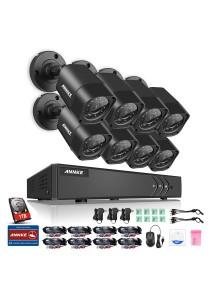 ANNKE 720P HD TVI IR-CUT IP66 CCTV Security Cameras 8 Bullet Cameras - C11BX with 1TB HDD