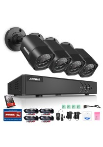 ANNKE 4CH 720P HD TVI CCTV Security System with 4 Bullet Cameras (C11BX) with 1TB HDD