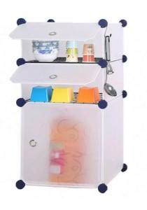 Tupper Cabinet 3 Cubes White Stripes DIY  Kitchen Storage With 2 Iron Frame