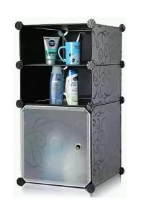 Tupper Cabinet 3 Cubes Black Stripes DIY Bathroom Storage Black Stripes