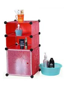 Tupper Cabinet 3 Cubes Red Stripes DIY Bathroom Storage Rack- Red Stripes