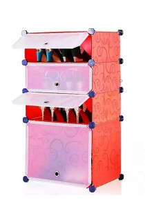 Tupper Cabinet 4 Tier 4 Cubes Red Stripes DIY Shoe Rack
