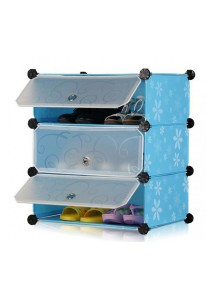 Tupper Cabinet DIY Shoe Rack 3 Cubes Blue