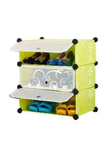 Tupper Cabinet 3 Tier Green Flower DIY Shoe Rack