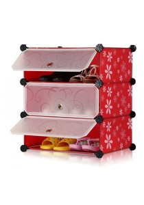 Tupper Cabinet DIY Shoe Rack 3 Cubes Red