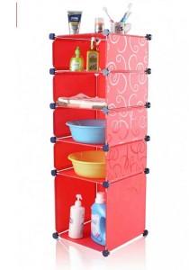 Tupper Cabinet 5 Tier Straight Red Stripes DIY Bathroom Storage Rack