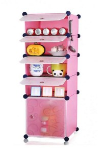 Tupper Cabinet 5 Cubes Pink Color DIY  Kitchen Storage With  4 Iron Frame