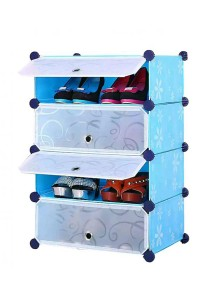 Tupper Cabinet 4 Tier 4 Cubes Blue Flower DIY Shoe Rack