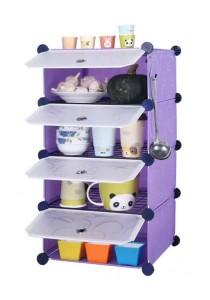Tupper Cabinet 4 Cubes Purple Stripes DIY  Kitchen Storage With 3 Iron Frame