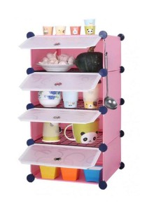 Tupper Cabinet 4 Cubes Pink Color DIY  Kitchen Storage With 3 Iron Frame