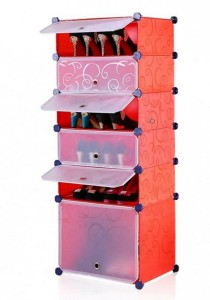 Tupper Cabinet 6 Tier DIY Shoe Rack Red