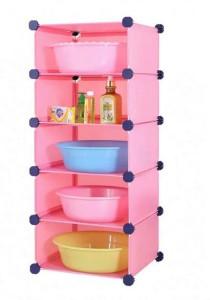Tupper Cabinet 5 Tier Straight Pink Color DIY Bathroom Storage Rack