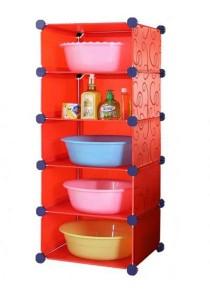 Tupper Cabinet 5 Tier DIY Bathroom Storage Rack Red