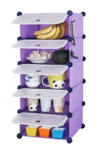 Tupper Cabinet 5 Cubes Purple Stripes DIY  Kitchen Storage With 4 Iron Frame
