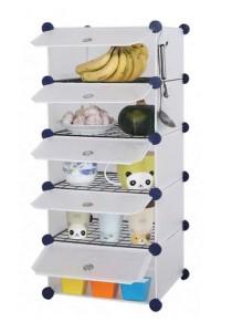 Tupper Cabinet 5 Cubes White Stripes DIY  Kitchen Storage With 4 Iron Frame