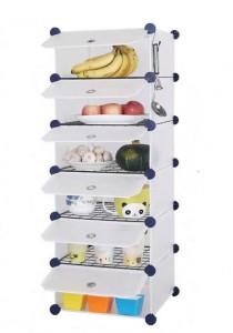 Tupper Cabinet 6 Cubes White Stripes DIY Kitchen Storage with 5 Iron Frame