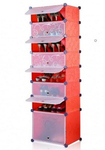 Tupper Cabinet 8 Tier 8 Cubes Stripes DIY Shoe Rack (Red)