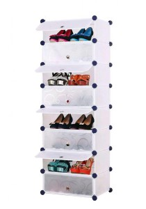 Tupper Cabinet 8 Tier 8 Cubes Stripes DIY Shoe Rack (White)