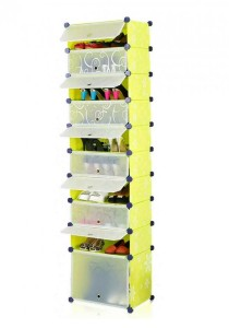 Tupper Cabinet 10 Tier 10 Cubes DIY Shoe Rack (Green Flower)