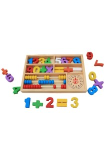 Wooden Numbers and Math Signs with Abacus in Box (BKM31)