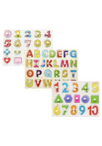 1 Set 3 pcs Preschool Educational Wood Puzzle - Alphabet & Mathematics -BKM38-A