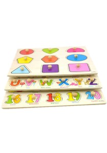 1 Set 3 pcs Preschool Educational Wood Puzzle - Alphabet & Mathematics -BKM38-B