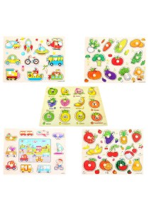 1 set 5 pcs Preschool Educational Wood Puzzle - Transportation & Fruits -BKM36