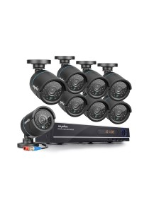 Sannce 8CH 720P Security DVR Recorder with 8x 720P Indoor/Outdoor CCTV Cameras (36 IR LEDs for 100ft Super Night Vision)