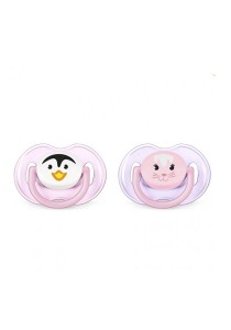 Twin Pack Philips AVENT Soother Animal Range 0-6m SCF182/23 Girl