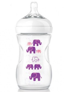 Philips AVENT Natural Exclusive Elephant Design Bottle Pink and Purple SCF628/17