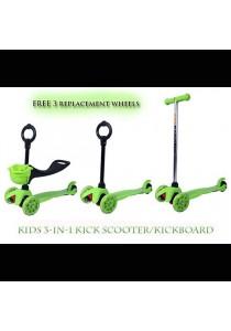 Baby/Kids 3-in-1 Kick Scooter/Glider/Kickboard (Free 3 Scooter Wheels)