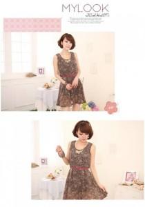 Korean Stylish Leopard Print Chiffon Dress (With Belt) - SD213157