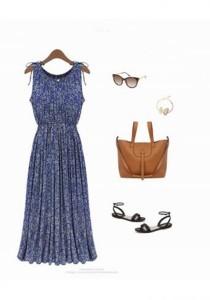 European Fashion Flora Maxi Dress - SD218078 (Blue)