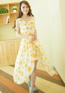 Sweet Polka Dot Chiffon Dress - SD73111 (Yellow)