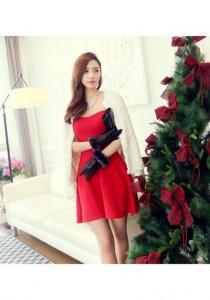 Korean Fashion Cotton Tube Dress - SD74746 (Red)