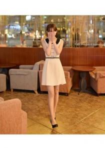 Korean Stylish Dress Dress (With Belt) - SD75212 (White)