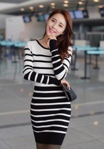 Korean Stylish Stripe Dress - SD78532 (Black)